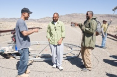 The Hughes Brothers direct Denzel Washington on the Albuquerque set of The Book of Eli (2010).