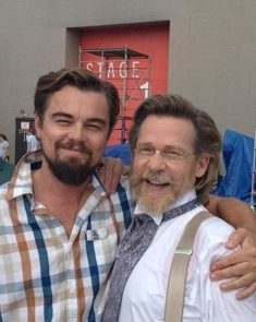 Leonardo DiCaprio and Dennis Christopher on the set of Django Unchained.