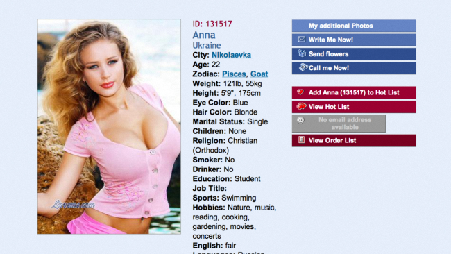 A sample profile from matchmaking website A Foreign Affair (www.loveme.com)