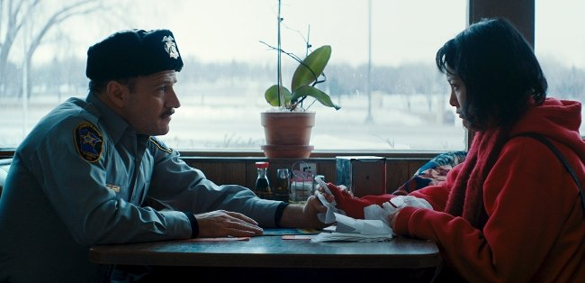 David Zellner, left, plays a friendly policeman in Kumiko, the Treasure Hunter. The brothers often appear in their own films