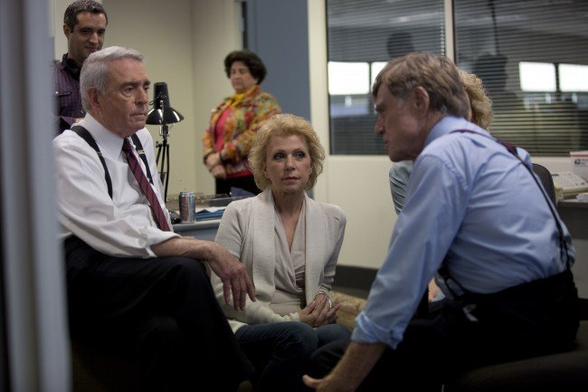 Robert Redford on set with Dan Rather and Mary Mapes.