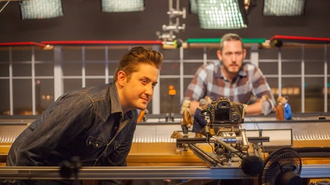 """Johnson supervises a scene from Anomalisa. Photograph by Chris """"Toots"""" Tootell"""