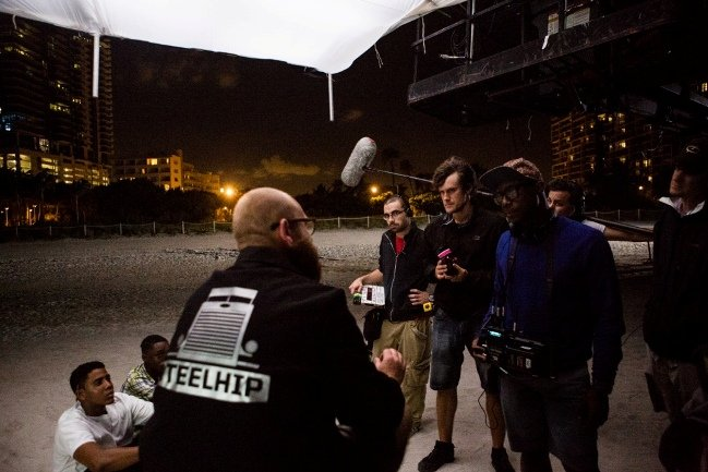 Magic in the moonlight: DP Laxton (foreground) orchestrates a night scene on the beach