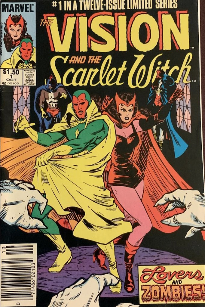 Vision and Scarlet Witch wandavision comic book