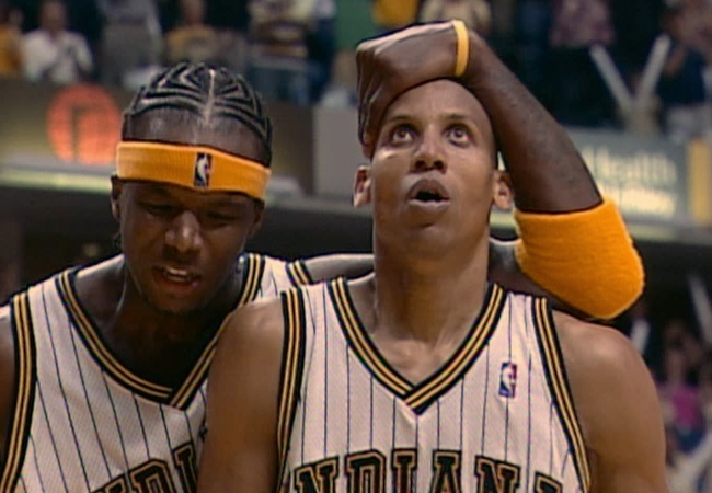 Jermaine O'Neal Reggie Miller Pacers Pistons