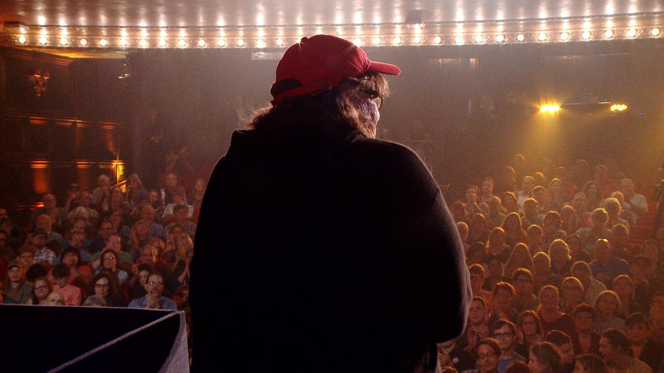Michael Moore works a politically polarized southern Ohio crowd in Michael Moore in Trumpland