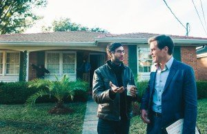 Director Ramin Bahrani and actor Michael Shannon on the set of their film, 99 Homes.