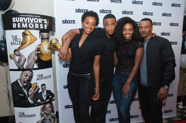 "The stars of ""Survivor's Remorse"" walk the red carpet. L-R: Teyonah Parris, Jessie T Usher, Erica Ash and RonReaco Lee."