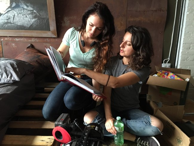 Director April Mullen with DP Maya Bankovic on the set of Below Her Mouth