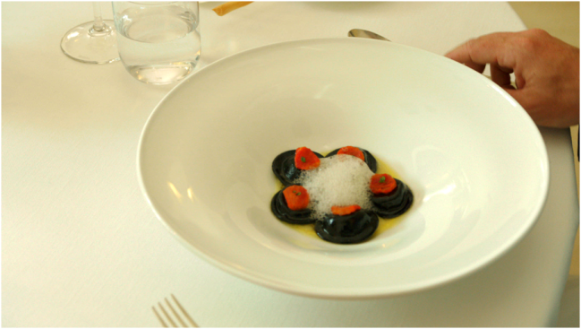 Black ravioli at Ristorante Oliver Glowig in Rome. Courtesy of IFC Films