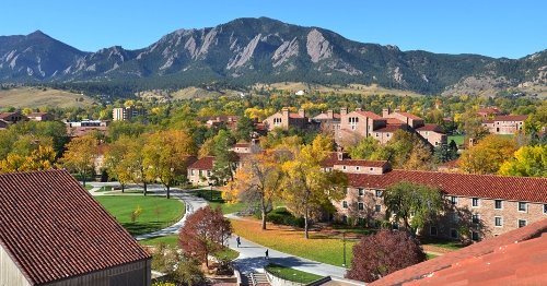 Fall leaves blanket the campus at the University of Colorado Boulder. (Photo by Casey A. Cass/University of Colorado)