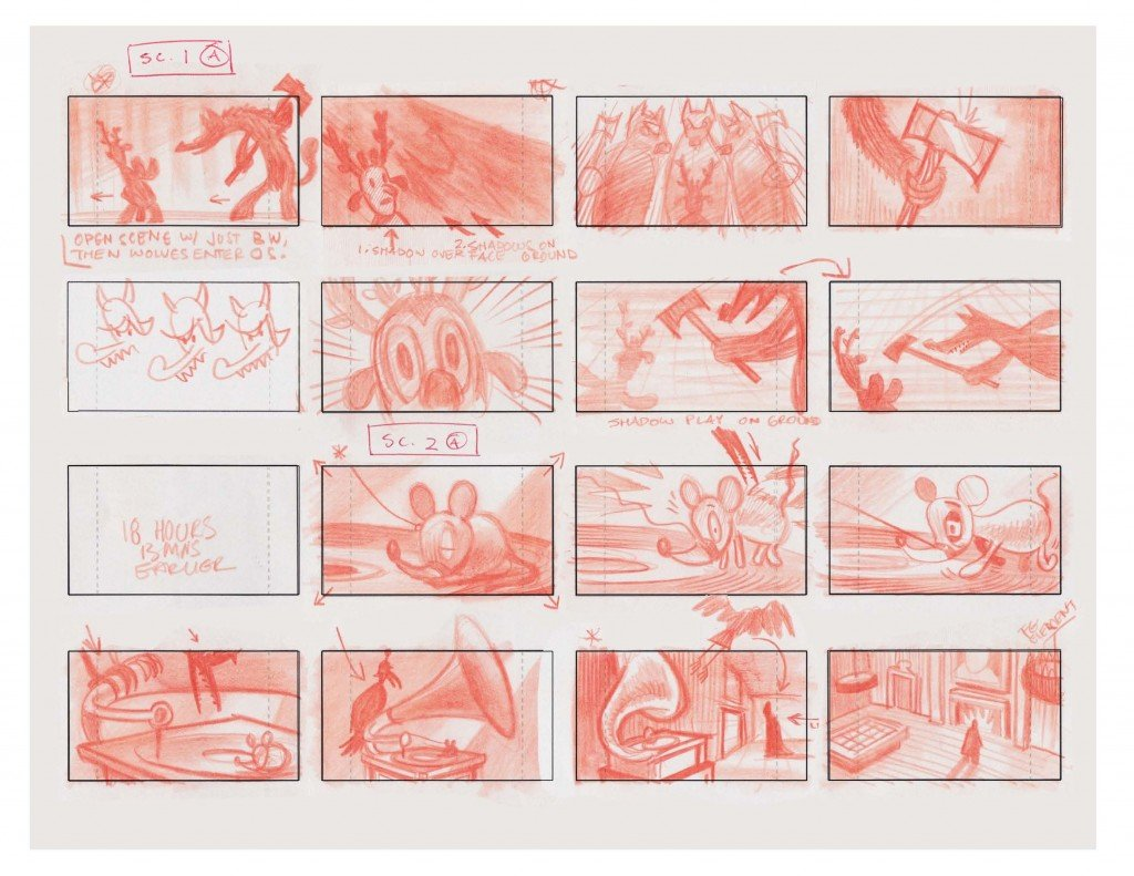 "The Mythical Creatures Bittorrent bundle includes various bonus materials, such as these storyboards for artist Gary Baseman's ""Buckingham Warrior"" music video."