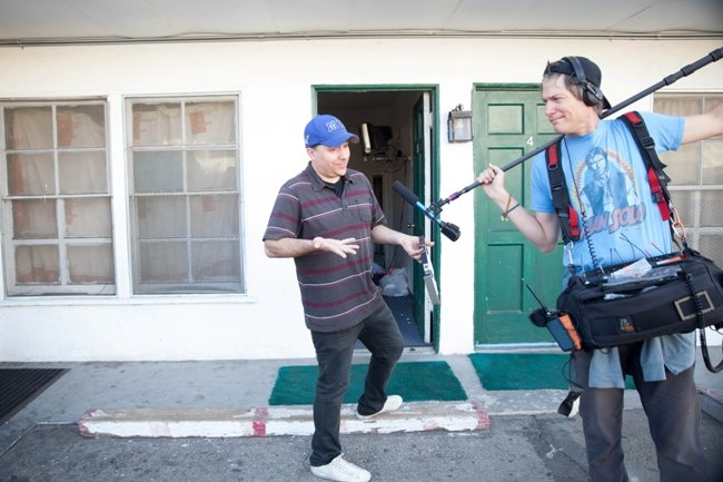 Tangerine co-writer and co-producer Chris Bergoch on set with sound mixer Irin Strauss