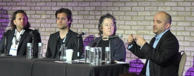 Christine Vachon (second from right) speaks on a panel