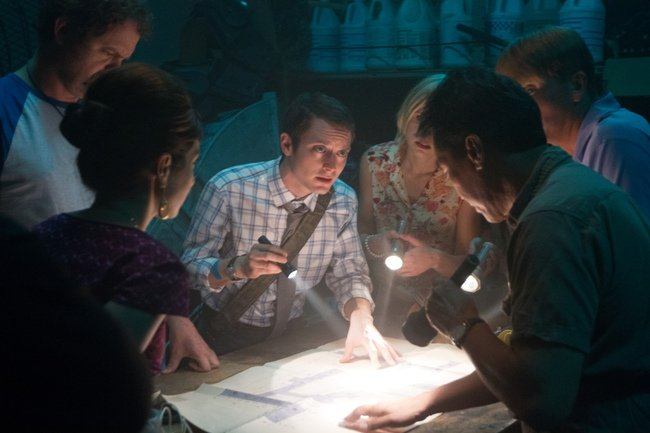 Elijah Wood (center) produced and stars in SpectreVision's Cooties, which Lionsgate is releasing in theaters in September