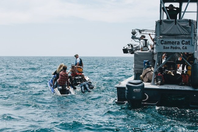 Rocking the boat: the crew of Swiss Army Man in the Los Angeles Harbor, San Pedro, California