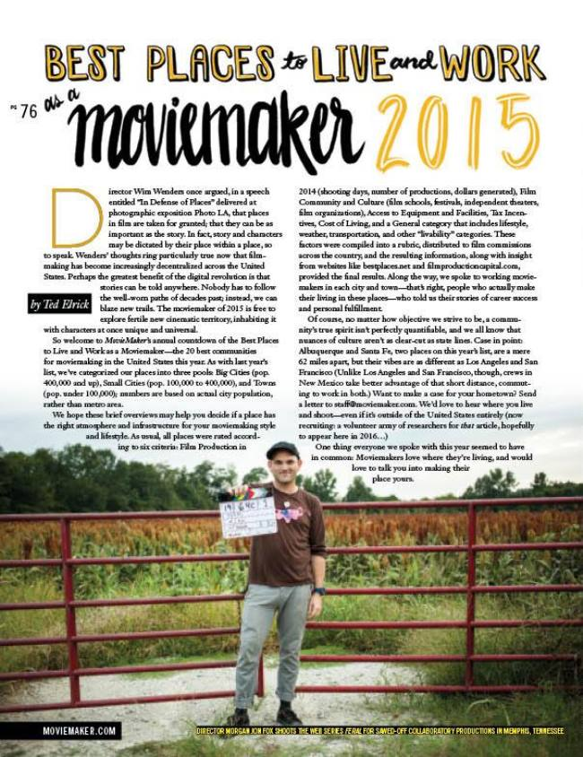 Copy of Best Places to Live and Work as a Moviemaker 2015
