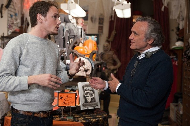 Star Anton Yelchin and director Joe Dante on the set of Burying the Ex, released this June by RLJ Entertainment. Photo by Suzanne Tenner
