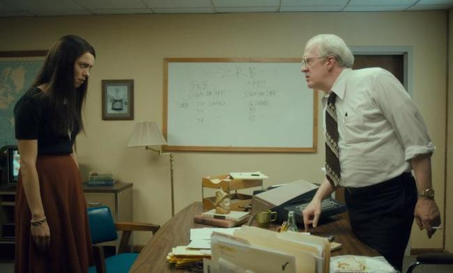 Christine (Rebecca Hall) and News Station boss Michael (Tracy Letts) face off in Christine