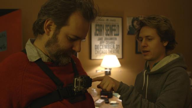 Dan Harmon (l) gets outfitted. Wearable gear was a big part of shooting Harmontown
