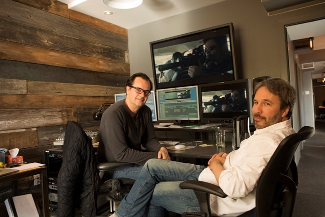 Joe Walker (L) has worked with director Denis Villeneuve (R) on three films—Sicario, Arrival and the upcoming Blade Runner 2049. Photograph by Javier Marcheselli