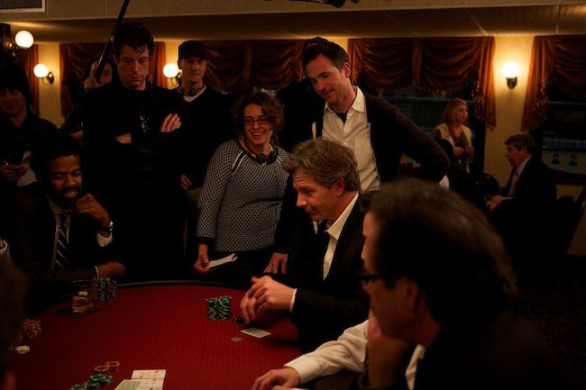 Directors Anna Boden and Ryan Fleck (center) watch as Mendelsohn flexes his poker skills
