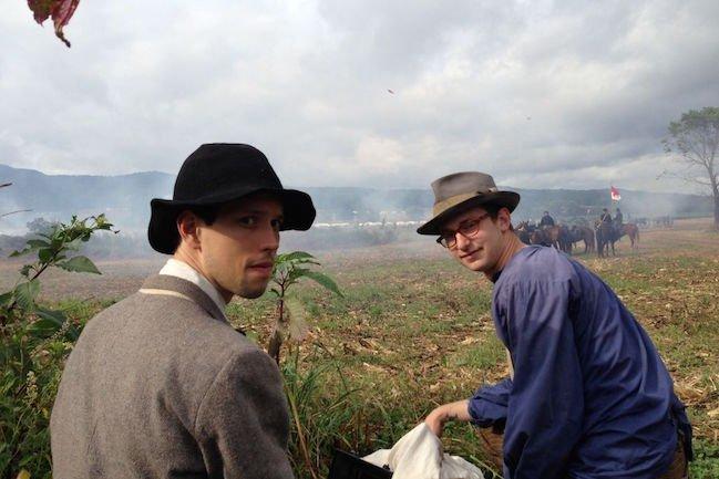 Director Zachary Treitz and DP Brett Jukiewicz on the reenacted battlefield of Perryville. Photograph by Brett Jutkiewicz