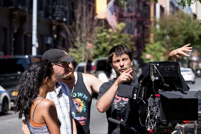 1st AC Rebecca Rajadnya, Key Grip Matt Kessler, 1 AD Eric Berkal and Cinematographer Óscar Durán behind the scenes of Little Men. Photograph by Jeong Park