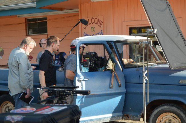 Ol' Blue in the first scene shot for Reparation, with DP Jay Silver and operator Evan Barthelman, 1st AD Jim Dougherty and boom operator Heather Bronge.
