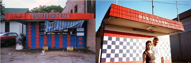 Left: Untitled (1970-1973), by William Eggleston. Right: Riley Keough and Chris Zylka in Dixieland