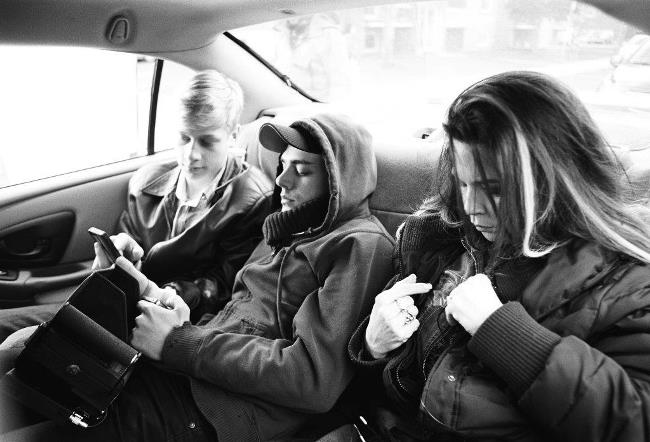 The 1:1 aspect ratio allowed Dolan to sit in between actors Antoine-Olivier Pilon and Dorval in this taxi scene and not be seen in single shots of each character. Photograph by Shayne Laverdière