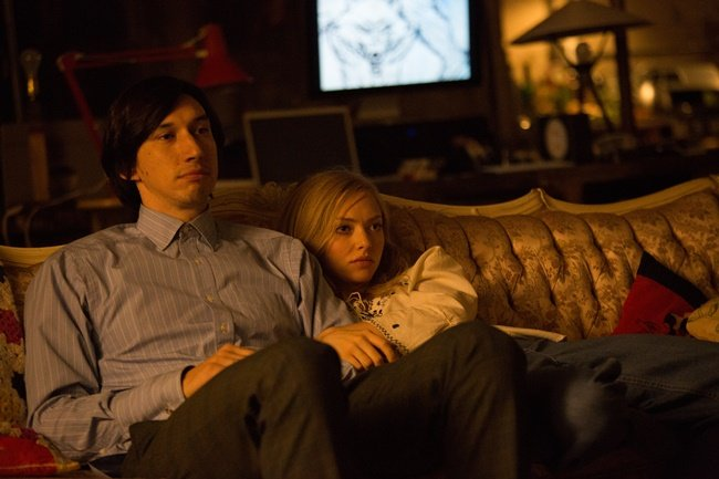 Jamie (Adam Driver) and Darby (Amanda Seyfried) enjoy analog pleasures in their home
