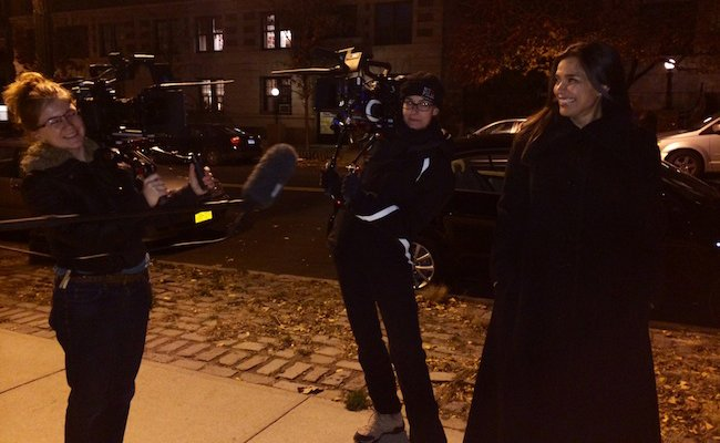 L-R: Lauretta Prevost (second camera), Jendra Jarnagin (DP), Kamala Lopez (director), on set in Manhattan