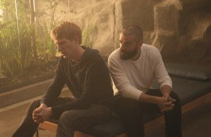 Gleeson and Isaac in the film's Pinewood set