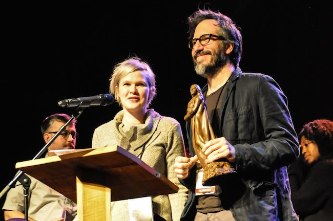 """Claire Carre and husband Charles Spano accept narrative feature award for """"Embers."""" Carre also received the first Alice Guy-Blaché Filmmaker Award which includes $1,000 from the Louis M. Rabinowitz Foundation."""