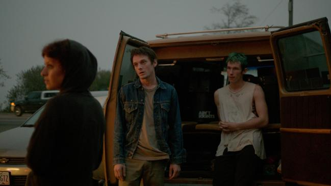 Alia Shawkat as Sam, Anton Yelchin as Pat and Callum Turner as Tiger in Green Room