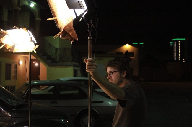 Favor gaffer Lucas McNelly only worked during night shoots, when the lighting got complicated enough to necessitate another warm body.