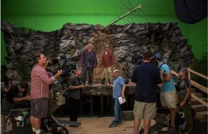 Greenscreen ledge set from AWITW---- John Bailey and director Ken Kwapis standing on the floor, Nick Nolte and Robert Redford on the ledge