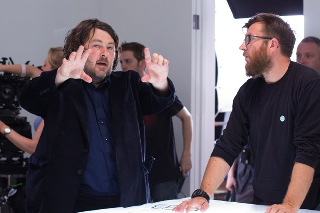 Ben Wheatley (left) on the set of High-Rise