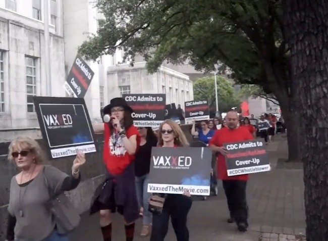 Supporters of the documentary Vaxxed protest the film's de-selection at the WorldFest-Houston festival, following the same decision by Tribeca Film Festival. Courtesy of Cinema Libre Studio