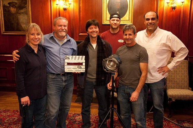 "New York City interviews for ""The Roosevelts: An Intimate History,"" November 2009 l-r: Pam Baucom, producer; Paul Barnes, producer; Ken Burns, producer/director; Anthony Savini, assistant cameraman; Buddy Squires, cinematographer; Mark Roy, sound recording Photo Credit: Daniel J. White, Florentine Films"