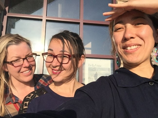 (L-R) Producers Jeri Rafter and Brooke Swaney with director Vera Brunner-Sung outside the Johnny Arlee/Victor Charlo Theater at Salish Kootenai College in Pablo. Photograph by Vera Brunner-Sung