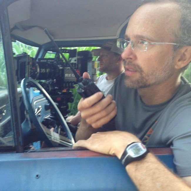 Ol' Blue with Reparation director Kyle Ham at the wheel, with cinematographer Jay Silver at the lens.