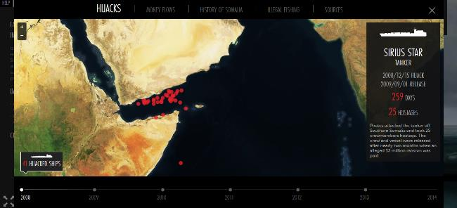The website features a map of 41 different Somalian pirate attacks.