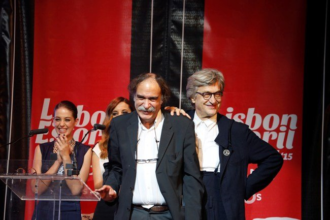 2015 Lisbon Wim Wenders with the director of LEFFEST Paulo Branco and actress Victoria Guerra