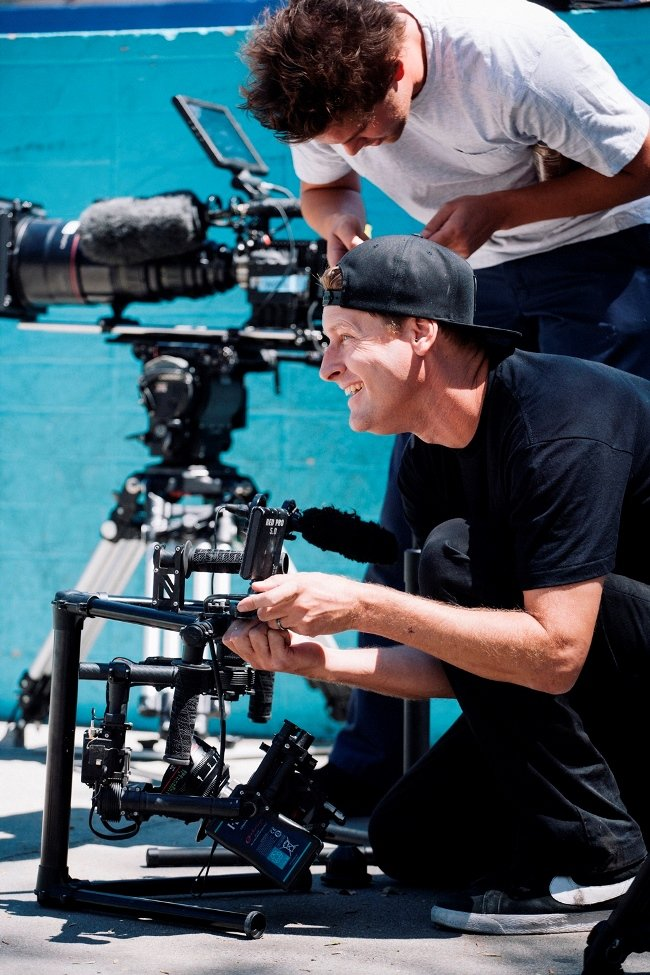 Director Ty Evans shoots on the RED Epic Dragon with with skateboarder Paul Rodriguez in the background Credit: Photograph by Herman Jimenez