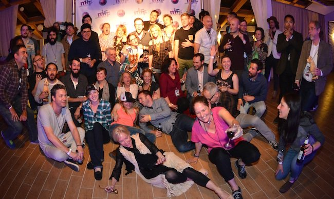 Filmmakers all trying to squeeze into one step and repeat picture. Photo by Joseph Marone.