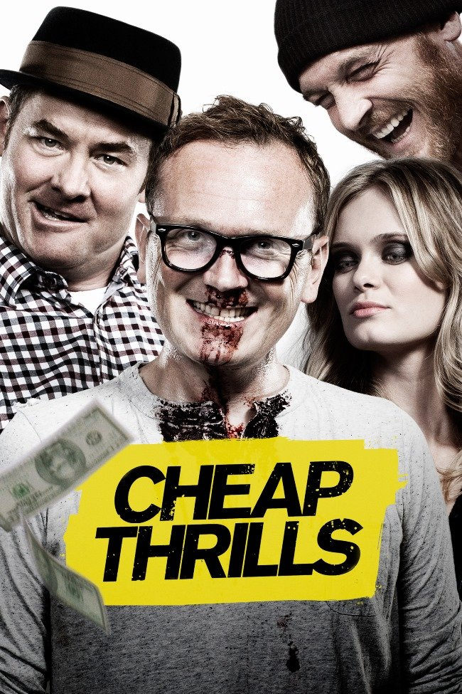 Healy (center) in the Drafthouse-distributed thriller Cheap Thrills