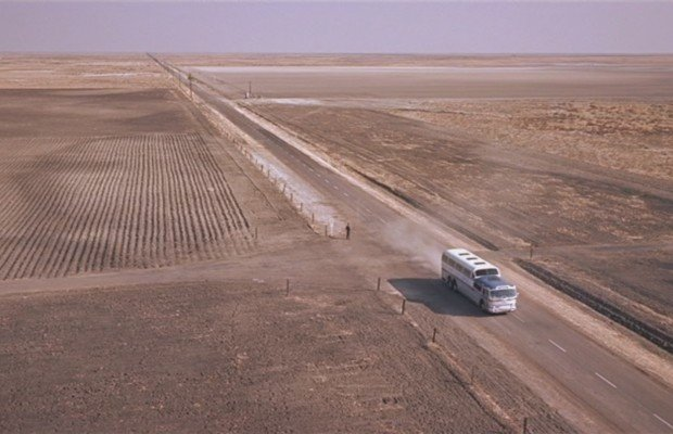 The famously desolate farmland setting of one of Hitchcock's most terrifying sequences in North by Northwest
