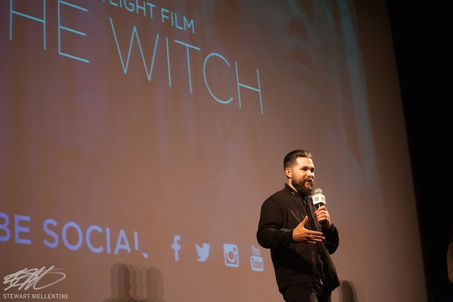 """Writer/Director Robert Eggers introduces his award-winning feature """"The Witch"""" at the 2015 New Hampshire Film Festival. Photo by Stewart Mellentine."""